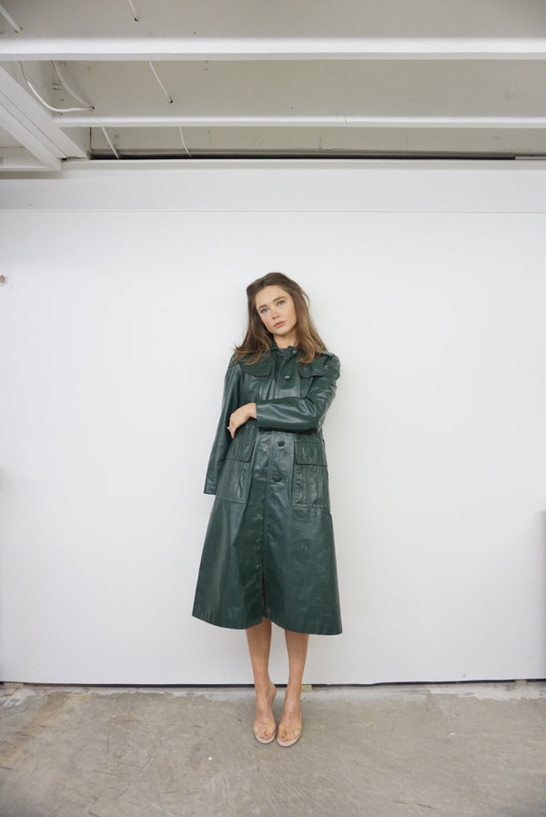 Small INCREDIBLE Leather Trench Sifted Green