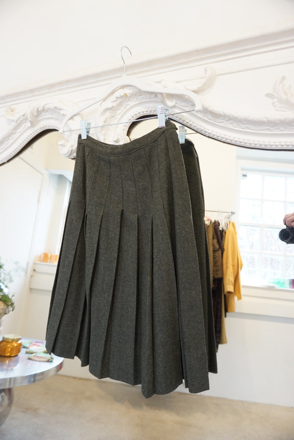 Small 60's Wool Pleated Skirt Forest