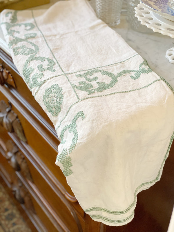 Sage Green Embroidered Table Cloth