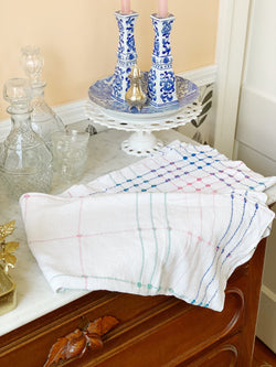 Pastel And Cream Check Tablecloth