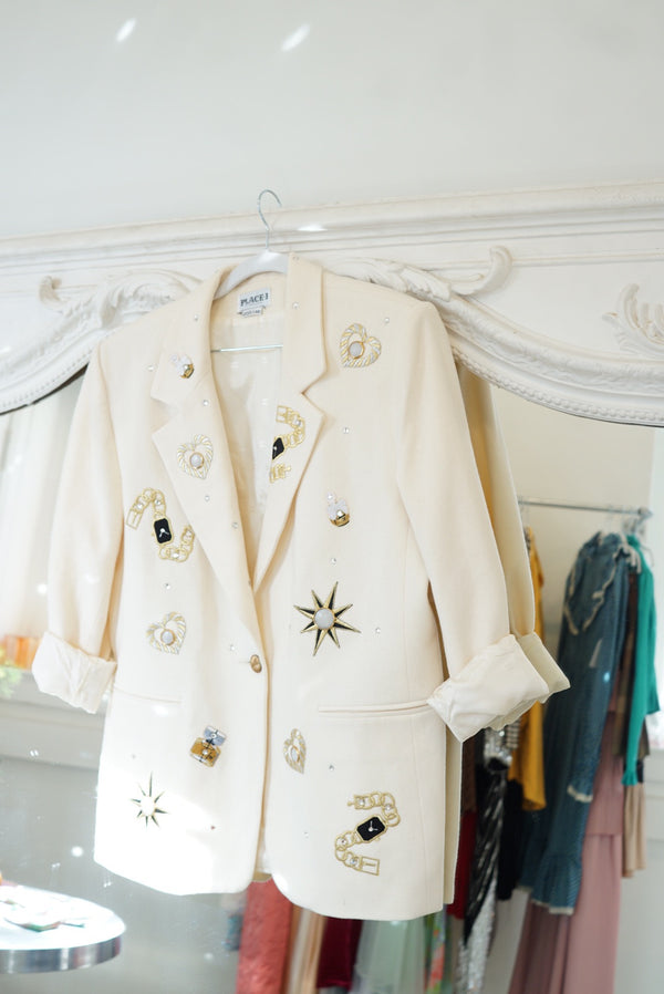 Large Cream Workin Woman Blazer