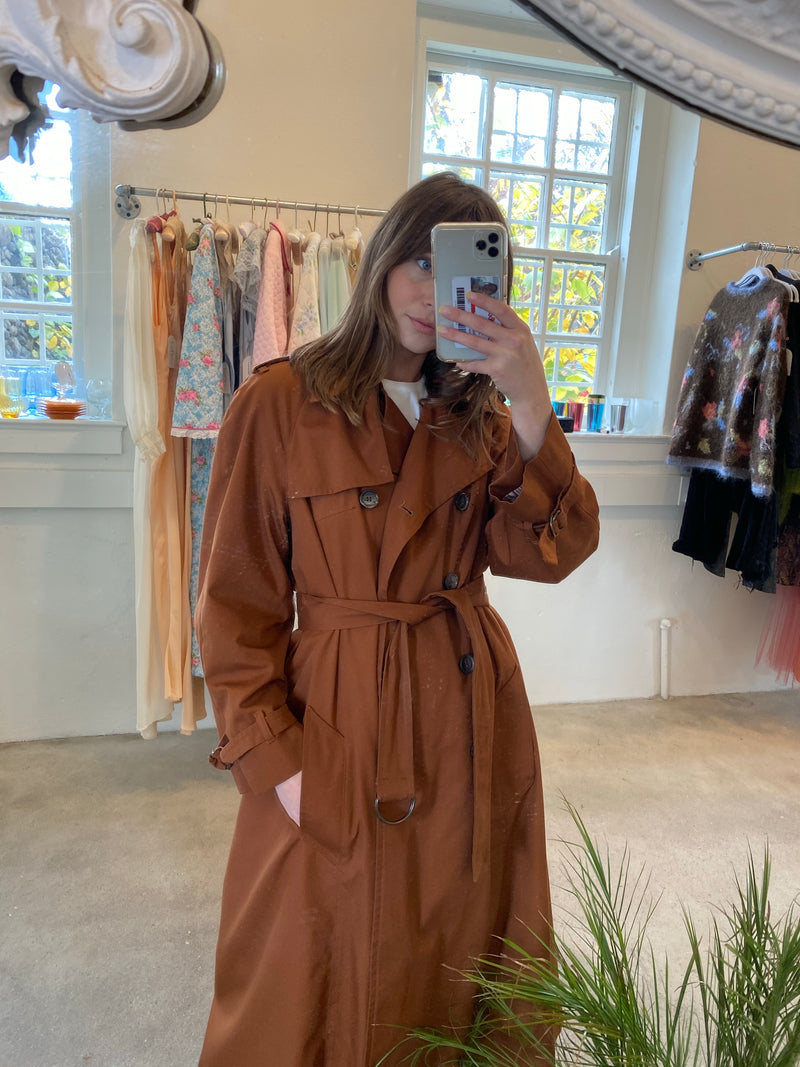 Large 80's Dark Rust LinedTrench Coat