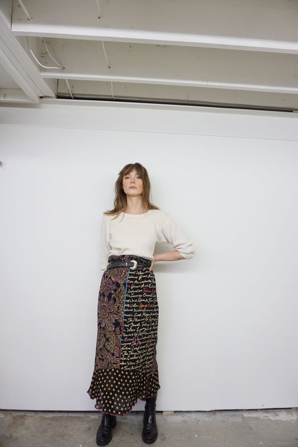 Medium/Large Elastic Waist Printed Silk Skirt
