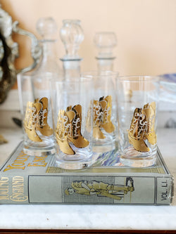Golden Cowgirl Boot Glasses