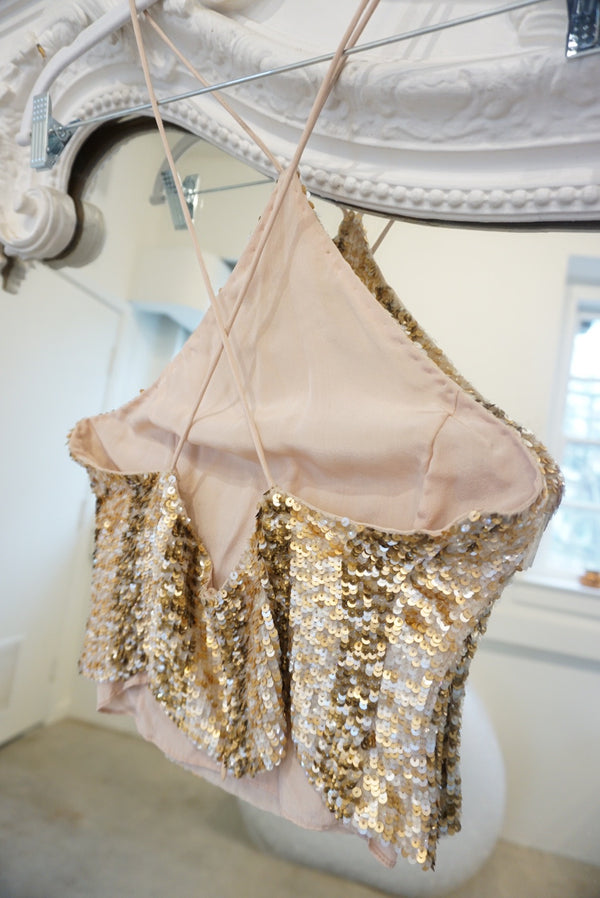 Sequined Crop Halter Top