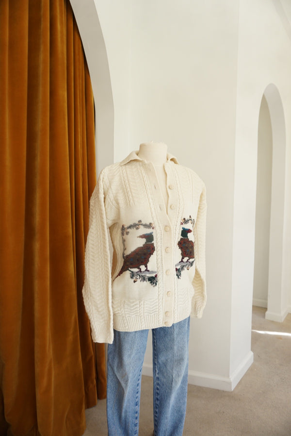 Medium/Large 70's Wool Pheasant Cardi