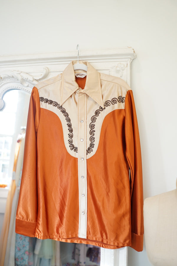 M/L Rust Disco Cowgirl Blouse