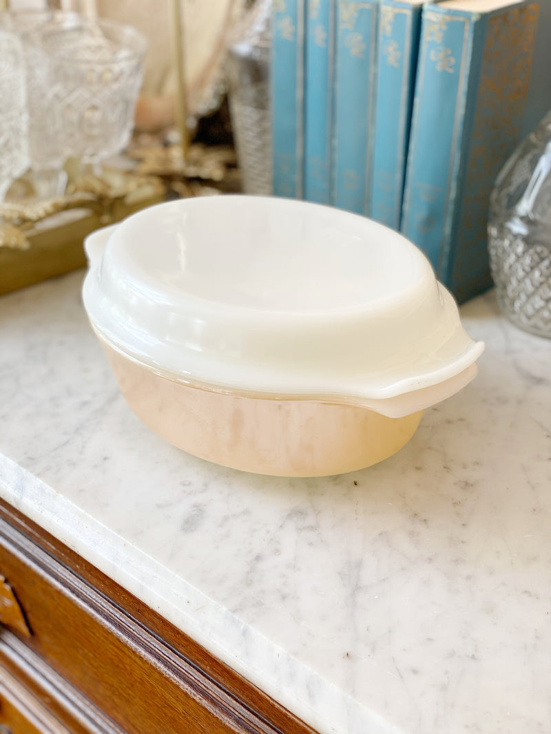 Peach and Cream Luster Glads Baking Dish