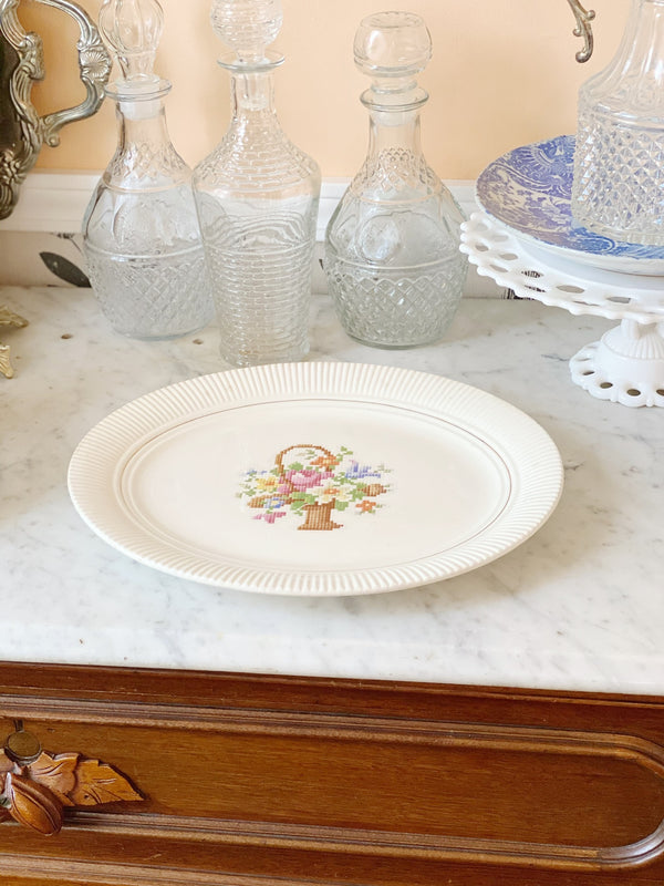 Cream and Floral Vintage Dish