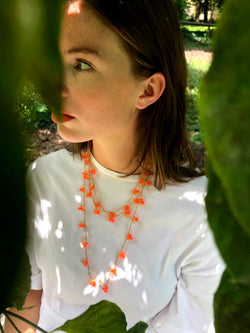 Long Beaded Necklace Hot Orange Beads
