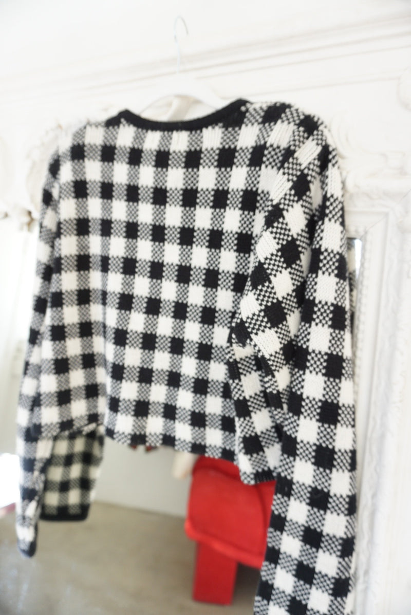Medium Cropped Plaid Sweater