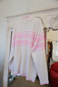 White and pink mock neck sweater