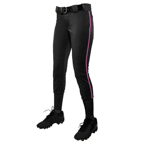 Champro Tournament Women's Traditional Low Rise Pant with Braid -Black/Pink