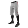 Champro Triple Crown Knicker Baseball Pants with Braid - Gray/Scarlet