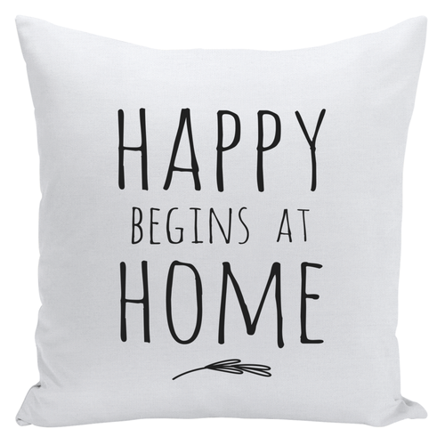 happy begins at home throw pillow ~ black