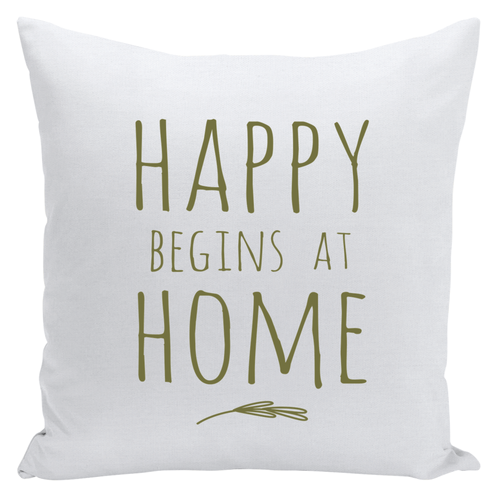 happy begins at home throw pillow ~ tan