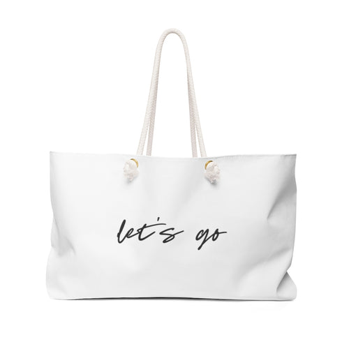 let's go canvas beach tote | free shipping perfect oversized weekend bag or use as a carry on