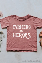 farmers are heroes kids tee ~ mauve