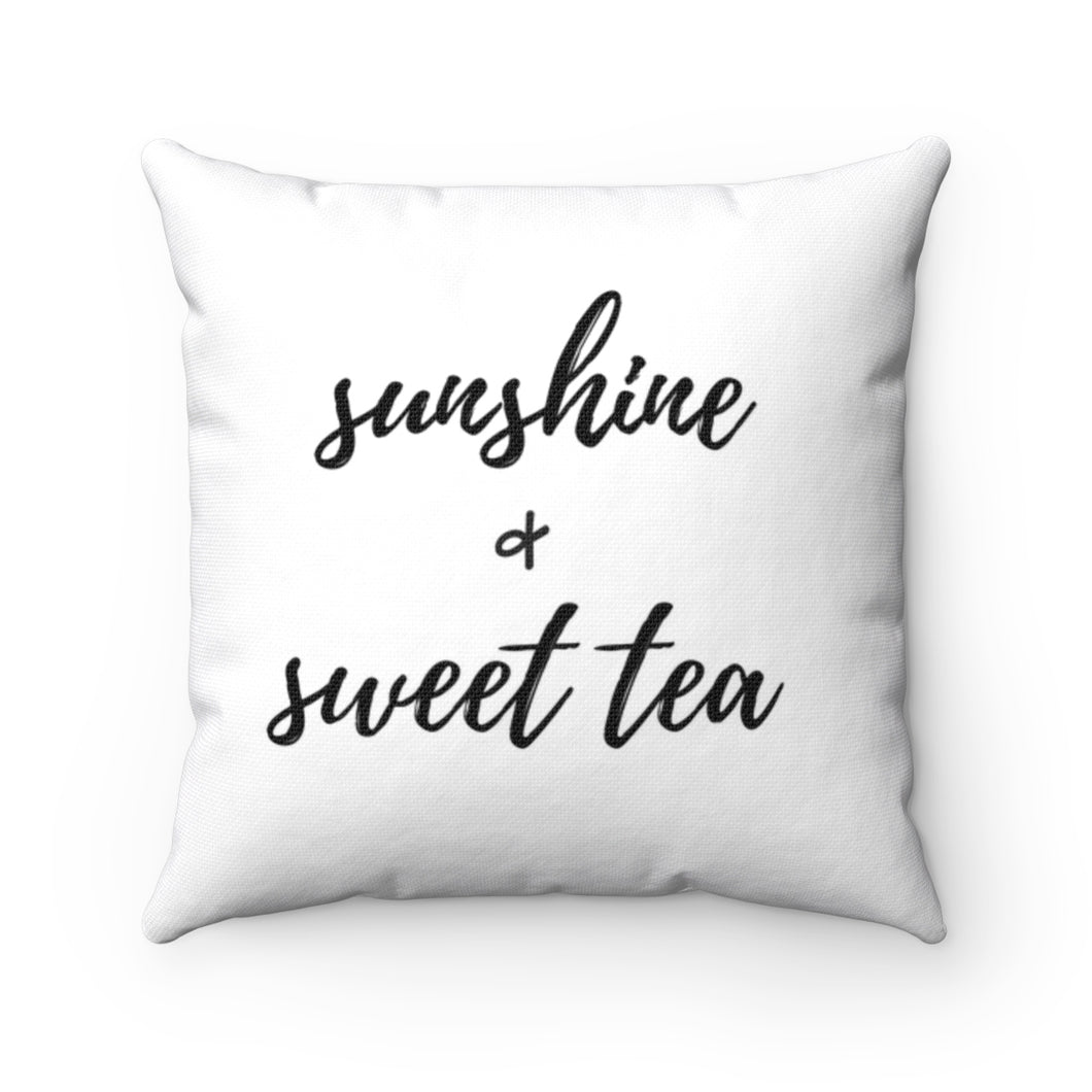 sunshine & sweet tea farmhouse style pillow | southern porch decor pillow for screened porches