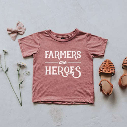 mauve farmers are heroes kids tee