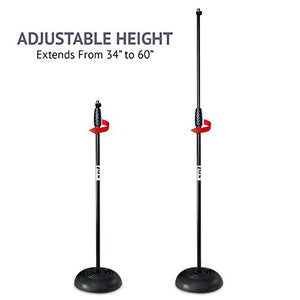 "Lyxpro RMS-1 Microphone Floor Stand Weighted Round base adjustable Height 34"" 60"",Black"
