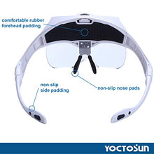 YOCTOSUN LED Head Magnifier, Rechargeable Hands Free Headband Magnifying Glass with 2 Led, Professional Jeweler's Loupe Light Bracket and Headband are Interchangeable