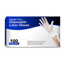New Disposable Latex Gloves, Powder Free (100 Gloves Per Box) (Extra Large)