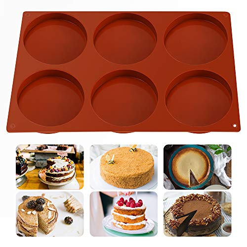 DIFENLUN Silicone Large Cake Molds, 6-Cavity Round Disc Resin Coaster Mold Non-Stick Baking Molds for Mousse, Cake, Dessert, Candy, Pie, Soap