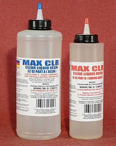 MAX CLR Epoxy Resin System -Direct Contact Food Safe Coating, FDA Compliant High Gloss, Chemical Resistant, Crystal Clear Coating 4 Bar Tops & Tabletops & Wood Lathed Cups & Bowls- Clear Casting Resin