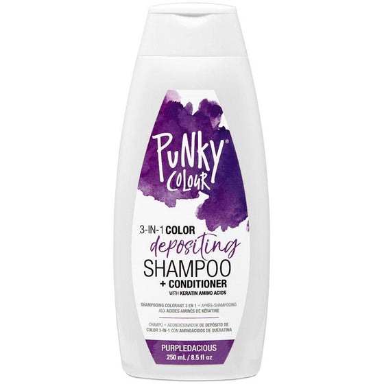 Punky Purpledacious 3-In-1 Purple Colour Depositing Shampoo and Conditioner - Lasts 5 to 10 Washes