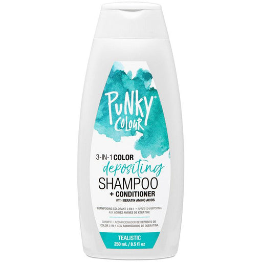 Punky Tealistic 3-In-1 Teal Colour Depositing Shampoo and Conditioner - Lasts 5 to 10 Washes