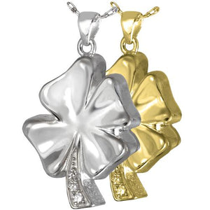 Four Leaf Clover with Crystals Cremation Pendant