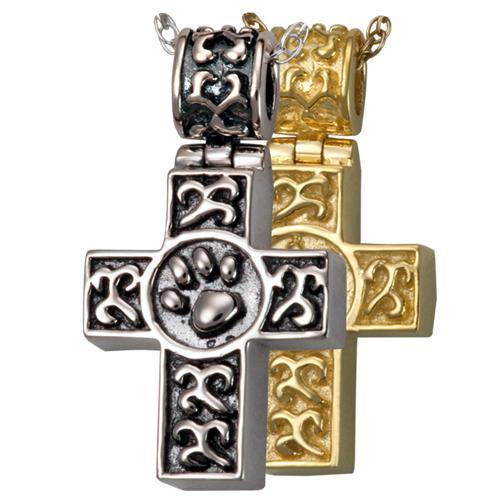 Paw Print Cross Cremation Pendant