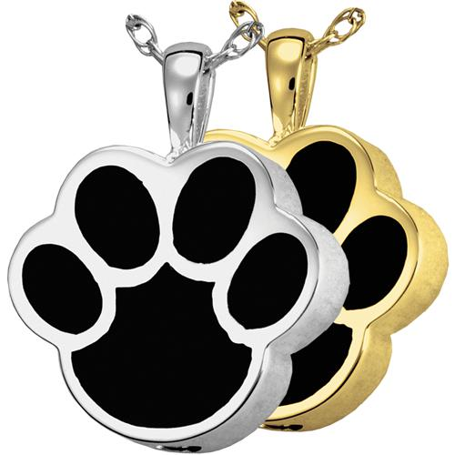 Black Inlay Paw Print Cremation Pendant