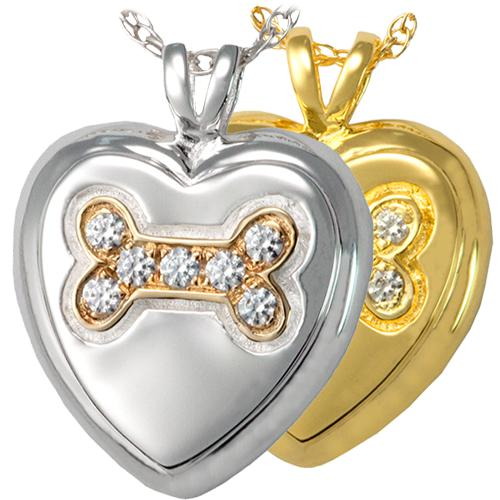 Dog Bone Heart with Stones Cremation Pendant