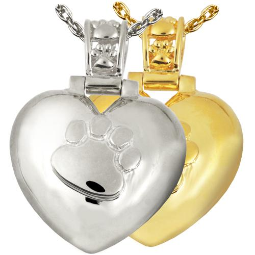 Paw Print Heart with Paw Print Bail Cremation Pendant