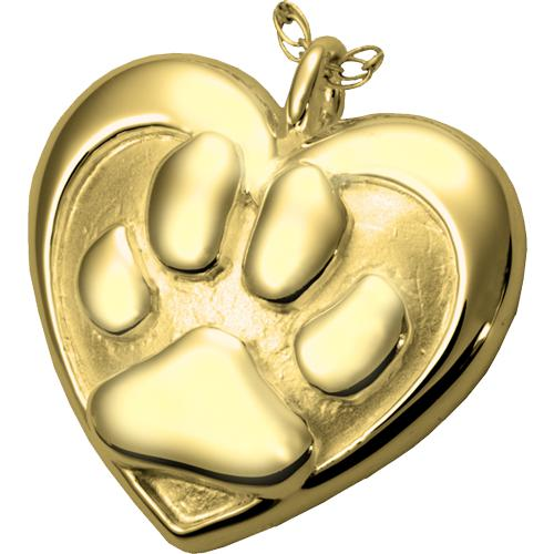 Double Heart Paw Print Cremation Pendant