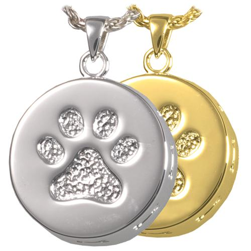 Paw Print and Bones Cremation Pendant