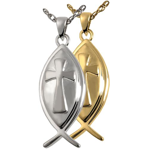 Fish Cross Cremation Pendant