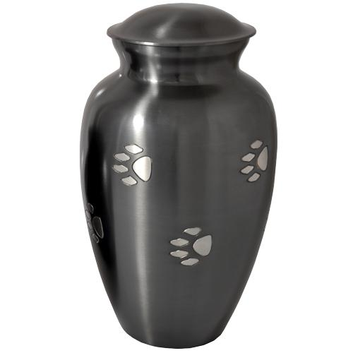 Pawprints Classic Grey Cremation Urn- Large