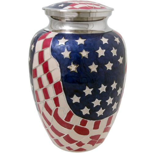 USA Flag Patriotic Cremation Urn
