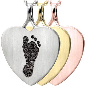 Baby Footprint Heart Pendant