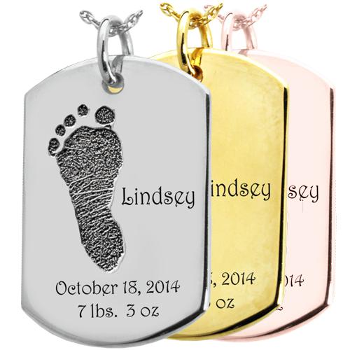 Baby Footprint on Dog Tag Pendant- Flat