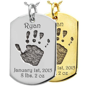 Baby Handprint on Dog Tag Pendant- Flat