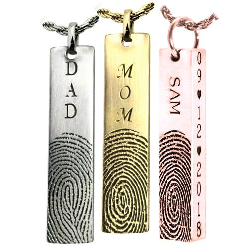 Bar Pendant Fingerprint- Vertical