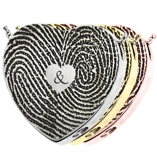 Double Fingerprint Heart Pendant with Ampersand