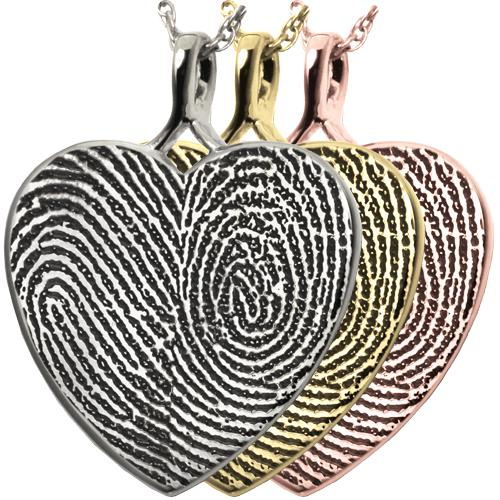 Double Fingerprint Heart Pendant