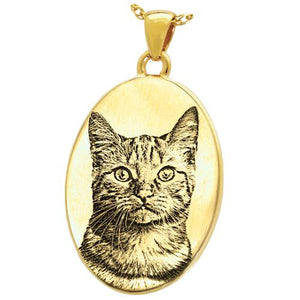 Oval 3D Pet Photo Engraved Pendant