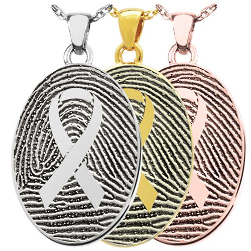 Oval Fingerprint with Awareness Ribbon Pendant