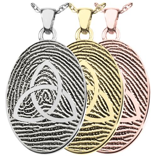 Oval Fingerprint Pendant with Celtic Trinity Knot